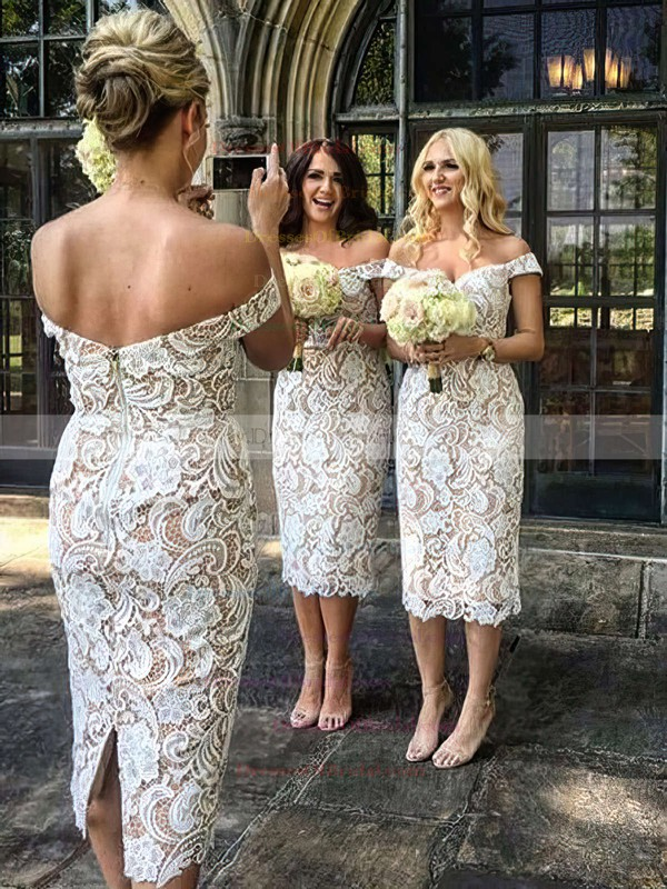 Lace Sheath/Column Off-the-shoulder Tea-length Bridesmaid Dresses #DOB01013721