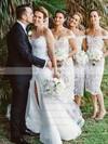 Lace Sheath/Column Off-the-shoulder Tea-length Bridesmaid Dresses #DOB01013721