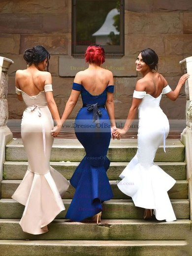 Silk-like Satin Trumpet/Mermaid Off-the-shoulder Asymmetrical Sashes / Ribbons Bridesmaid Dresses #DOB01013727