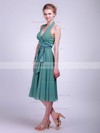 Halter Empire Tea-length Chiffon Sashes/Ribbons Bridesmaid Dresses #DOB01012016