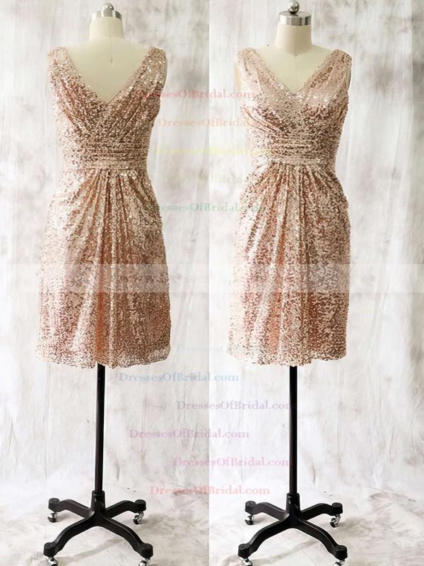Sequined A-line V-neck Knee-length Ruffles Bridesmaid Dresses #DOB01013728