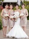 Sequined A-line V-neck Knee-length Ruffles Bridesmaid Dresses #DOB01013728