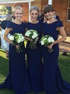 Silk-like Satin Trumpet/Mermaid Scoop Neck Sweep Train Bridesmaid Dresses #DOB01013729