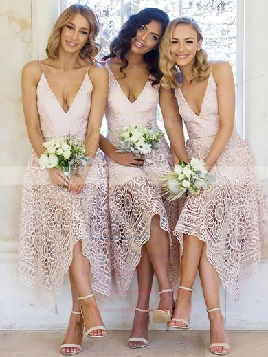 Lace A-line V-neck Tea-length Bridesmaid Dresses #DOB01013596