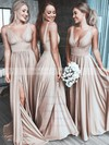 Silk-like Satin A-line V-neck Sweep Train Split Front Bridesmaid Dresses #DOB01013597