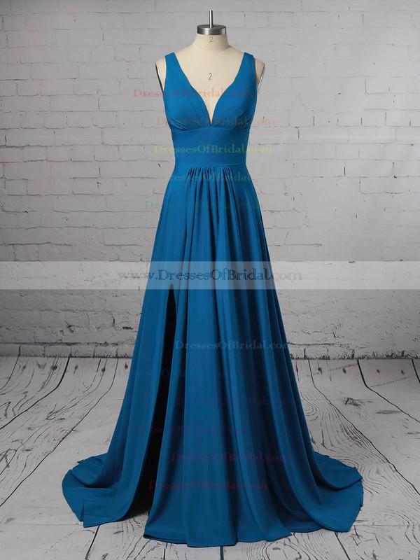 Silk-like Satin A-line V-neck Sweep Train Split Front Bridesmaid Dresses #DOB01013598