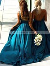 Silk-like Satin A-line V-neck Sweep Train Split Front Bridesmaid Dresses #DOB01013598