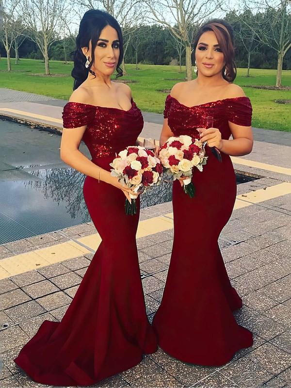 Sequined Silk-like Satin Trumpet/Mermaid Off-the-shoulder Sweep Train Bridesmaid Dresses #DOB01013599