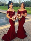 Sequined Silk-like Satin Trumpet/Mermaid Off-the-shoulder Sweep Train Bridesmaid Dresses #DOB01013599