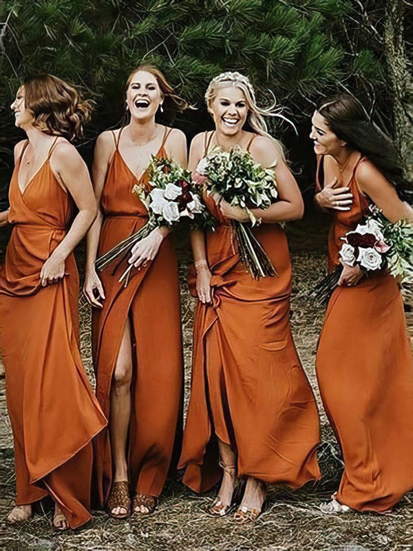 Chiffon A-line V-neck Floor-length Split Front Bridesmaid Dresses #DOB01013600