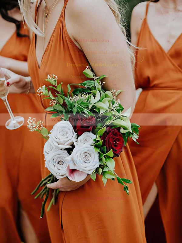 Chiffon A-line V-neck Floor-length Split Front Bridesmaid Dresses #DOB01013600