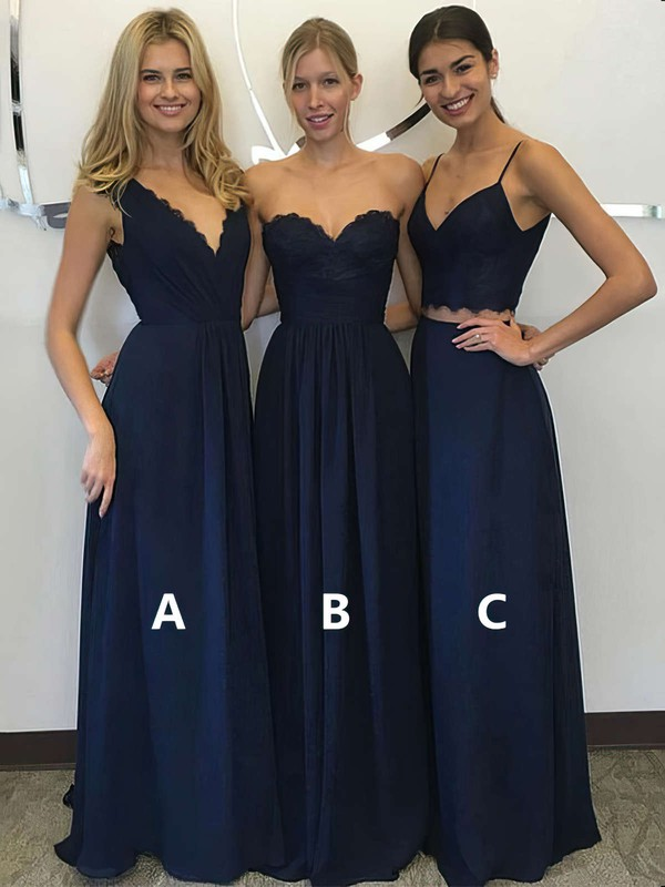 Chiffon A-line V-neck Floor-length Lace Bridesmaid Dresses #DOB01013601