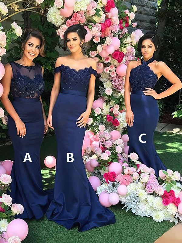 Silk-like Satin Trumpet/Mermaid Halter Sweep Train Appliques Lace Bridesmaid Dresses #DOB01013602
