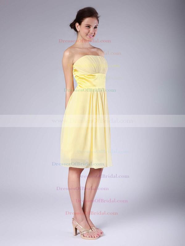 Strapless Empire Knee-length Chiffon Ruffles Bridesmaid Dresses #DOB01012018