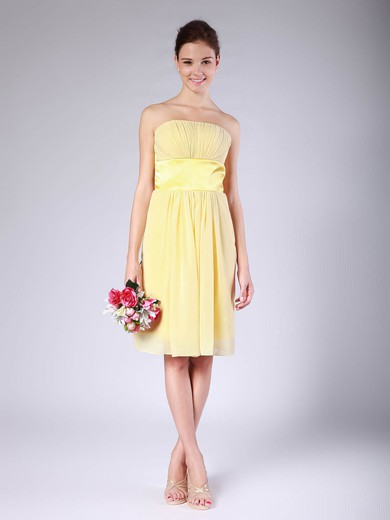 Strapless Empire Knee-length Chiffon Ruffles Bridesmaid Dresses #DOB01012018
