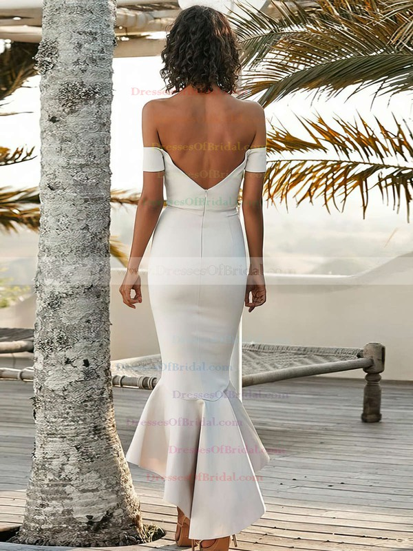 Silk-like Satin Trumpet/Mermaid Off-the-shoulder Asymmetrical Bridesmaid Dresses #DOB01013606