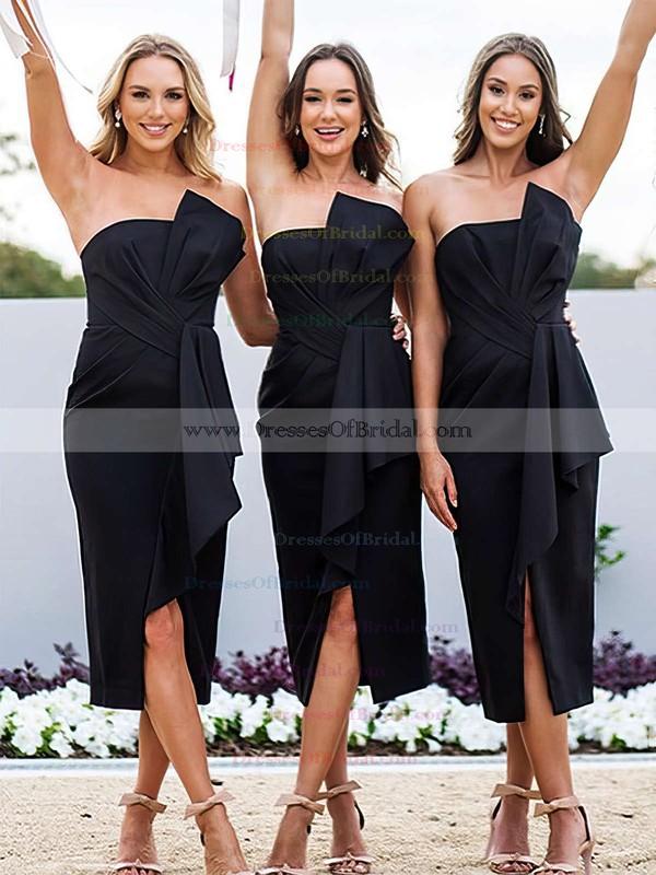 Silk-like Satin Sheath/Column Strapless Tea-length Ruffles Bridesmaid Dresses #DOB01013607
