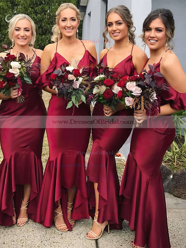 Silk-like Satin Trumpet/Mermaid V-neck Asymmetrical Ruffles Bridesmaid Dresses #DOB01013609
