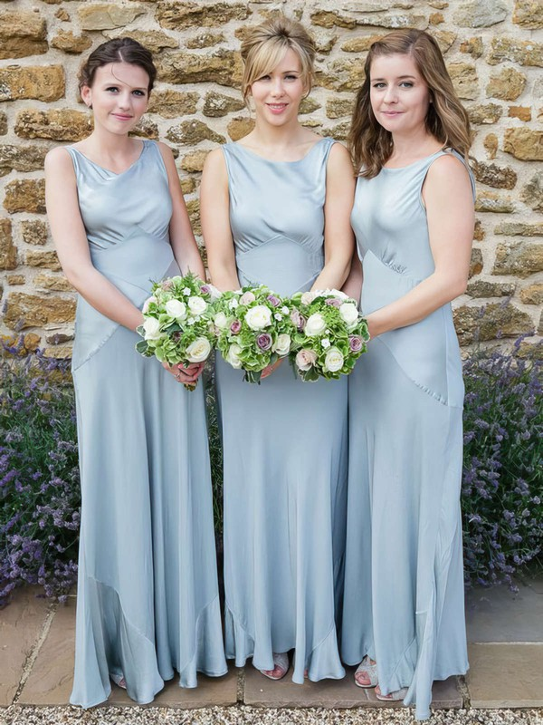 Satin Chiffon A-line Scoop Neck Floor-length Bridesmaid Dresses #DOB01013611