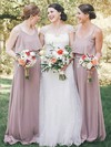 Chiffon A-line Scoop Neck Floor-length Ruffles Bridesmaid Dresses #DOB01013612