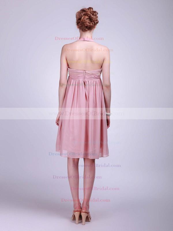 Halter A-line Knee-length Chiffon Ruffles Bridesmaid Dresses #DOB01012019
