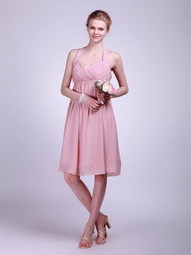 Halter A-line Knee-length Chiffon Ruffles Bridesmaid Dresses #DOB01012019
