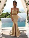 Silk-like Satin Trumpet/Mermaid Sweetheart Floor-length Split Front Bridesmaid Dresses #DOB01013617