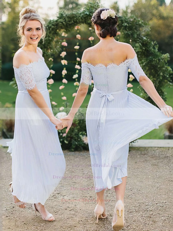Lace Chiffon A-line Off-the-shoulder Ankle-length Sashes / Ribbons Bridesmaid Dresses #DOB01013619