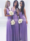 Jersey A-line V-neck Floor-length Bridesmaid Dresses #DOB01013620