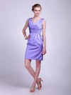 V-neck Sheath/Column Knee-length Satin Ruched Bridesmaid Dresses #DOB01012021