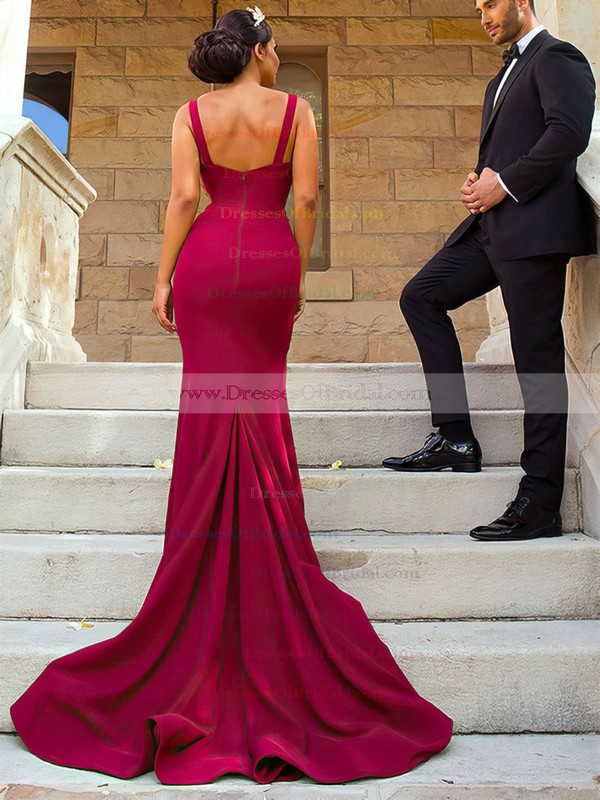Satin Trumpet/Mermaid V-neck Sweep Train Split Front Bridesmaid Dresses #DOB01013624
