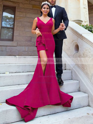 Satin Trumpet/Mermaid V-neck Sweep Train Split Front Bridesmaid Dresses #DOB01013624