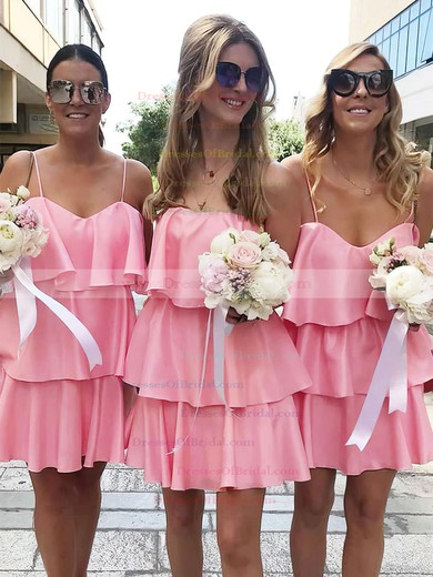Silk-like Satin A-line V-neck Short/Mini Ruffles Bridesmaid Dresses #DOB01013625