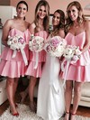 Silk-like Satin A-line V-neck Short/Mini Ruffles Bridesmaid Dresses #DOB01013625