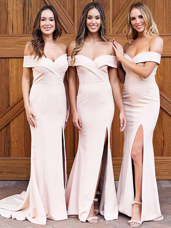 Satin Sheath/Column Off-the-shoulder Sweep Train Split Front Bridesmaid Dresses #DOB01013626