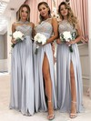 Tulle Chiffon A-line Scoop Neck Floor-length Appliques Lace Bridesmaid Dresses #DOB01013628
