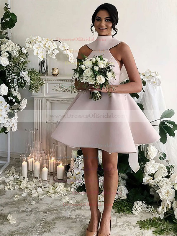Satin Princess High Neck Short/Mini Bow Bridesmaid Dresses #DOB01013631