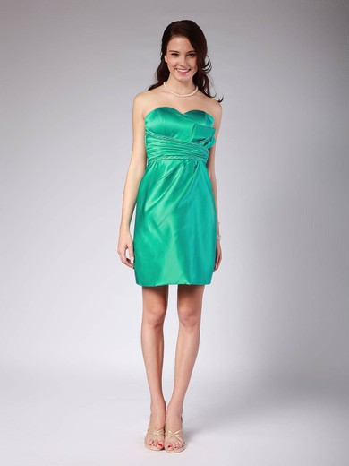 Sweetheart Sheath/Column Short/Mini Satin Pleats Bridesmaid Dresses #DOB01012022