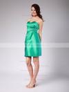 Sweetheart Sheath/Column Short/Mini Satin Pleats Bridesmaid Dresses #DOB01012022