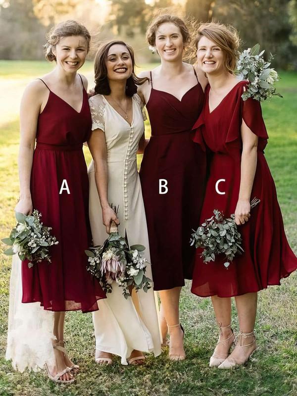 Chiffon A-line V-neck Tea-length Bridesmaid Dresses #DOB01013637