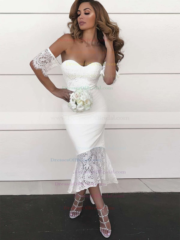 Silk-like Satin Trumpet/Mermaid Off-the-shoulder Asymmetrical Lace Bridesmaid Dresses #DOB01013638