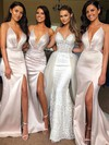 Satin Trumpet/Mermaid V-neck Sweep Train Split Front Bridesmaid Dresses #DOB01013641