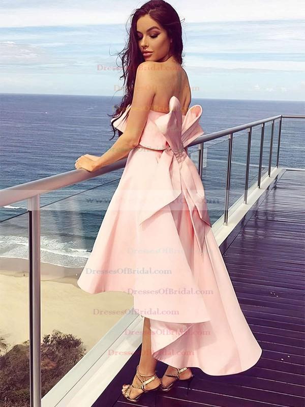 Satin A-line Strapless Asymmetrical Bow Bridesmaid Dresses #DOB01013642