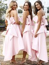 Satin A-line Strapless Asymmetrical Bow Bridesmaid Dresses #DOB01013642