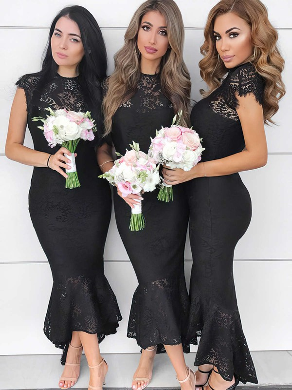 Lace Trumpet/Mermaid High Neck Asymmetrical Bridesmaid Dresses #DOB01013643