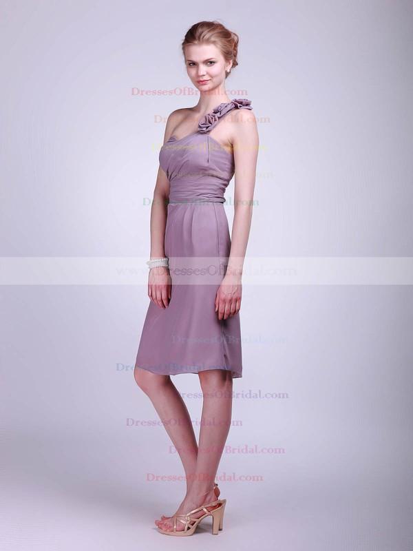 One Shoulder A-line Knee-length Chiffon Flower(s) Bridesmaid Dresses #DOB01012023