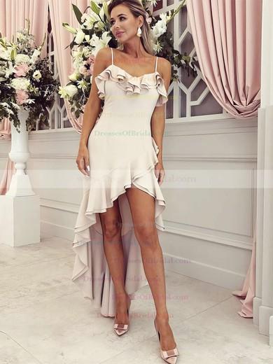 Chiffon A-line V-neck Asymmetrical Ruffles Bridesmaid Dresses #DOB01013645
