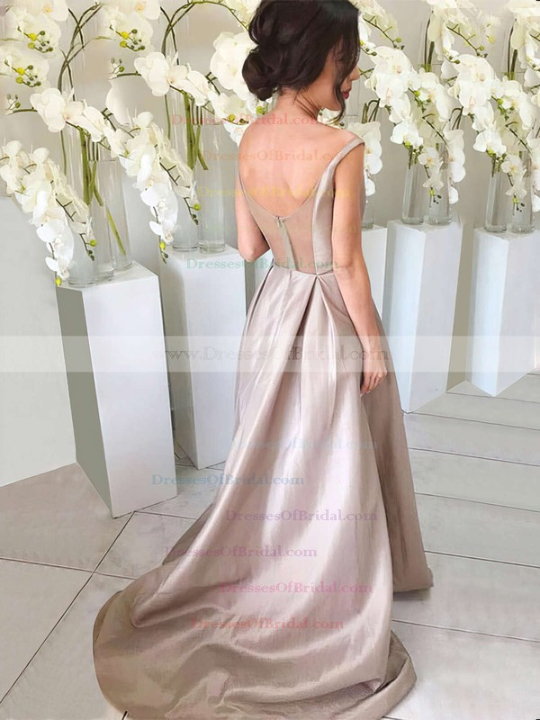 Silk-like Satin A-line V-neck Sweep Train Bridesmaid Dresses #DOB01013647