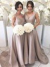 Silk-like Satin A-line V-neck Sweep Train Bridesmaid Dresses #DOB01013647