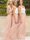 Tulle A-line V-neck Floor-length Bridesmaid Dresses #DOB01013649